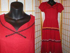 Vintage 50s rode gelaagde jurk womens grootte klein door antique