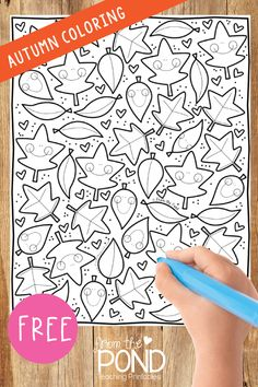 Free fall autumn leaf coloring page Leaf Coloring Page, Fall Coloring Pages, Coloring Sheets, Pre K Activities, Autumn Activities, First Grade Classroom, Classroom Fun, School Holidays, School Fun