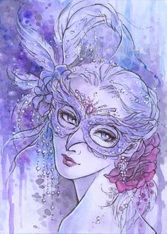 Open Edition ACEO Print - Masquerade - Owl Mask Roses Purple - Free Shipping  - Fantasy Art by Mitzi Sato-Wiuff on Etsy, $4.00