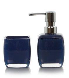 royal navy blue 2 piece bathroom accessory set bathextras