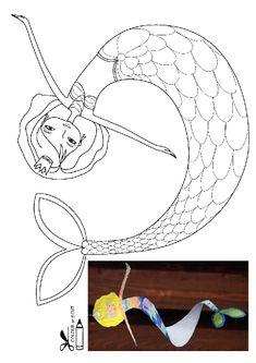 Deniz Kızı kalıbı etkinlikleri çalışma sayfası, kalıpları etkinliği çalışmaları örnekleri sayfaları kağıdı yazdır, çıkart, indir.