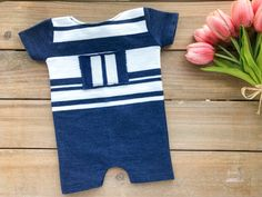 Newborn Boy Photo Outfit - Denim Blue & Ivory Striped Romper - READY TO SHIP by wrenandwillowdesigns on Etsy