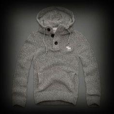【新作情報】 アバクロ Calkins Brook Hooded Sweater パーカー リブ編込みとストライプ模様の素材とフードとカンガルーポケットのシルエットが惹かれるポイント!
