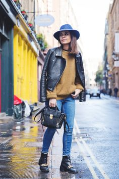 Blue_Hat-OLive_Jumper-Jeans-London-LFW-Street_Style-Outfit-12