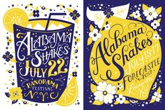MFA graduate Emma Brooks explored her playful side in these handlettered illustrated silk-screened posters.  #handlettered #posters