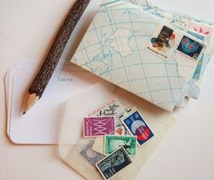 PERSONALIZED cards with handmade map envelopes and vintage postage stamps, geography lesson letter set (set of via Etsy Letter Set, Letter Writing, Writing Paper, Diy Cadeau, Geography Lessons, Handmade Envelopes, Going Postal, Handwritten Letters, Vintage Stamps