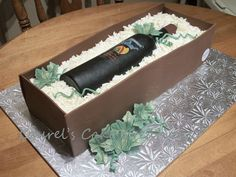 Birthday cake for my daughter and her fiance who make their own wine Wine Bottle Cake, Decorative Boxes, Birthday Cake, Daughter, Cakes, Chocolates, David, Big, Ideas