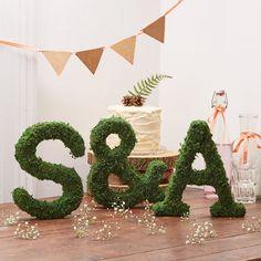 Véritable mousse Alphabet lettre - décoration de mariage bois - mariage rustique - topiaire mousse - mousse initiales - Moss Sculpture - personnalisés
