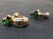 J Estate Vintage Coro Green Rhinestone Screw Back Earrings