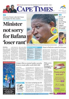 News making headlines: Sport minister not sorry for 'loser' rant