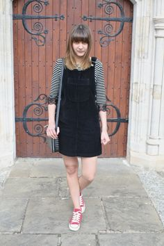 black corduroy pinafore outfit - Google Search