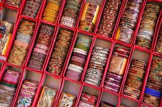 Display of colorful bangels inside City Palace in Jaipur, India