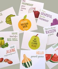 Another great find on #zulily! Fruit & Veggies Friendship Puns Greeting Card Set #zulilyfinds