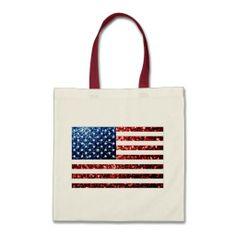 USA flag red & blue sparkles glitters print Tote Bags by #PLdesign #USASparkles #SparklesBag