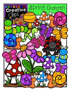 Freebie Clipart and Spring Fever! (The Creative Chalkboard) Freebie Clipart Classroom Clipart, School Clipart, 2 Clipart, Cute Clipart, Spring Garden, Whimsical Art, Teacher Resources, Creations, Teaching