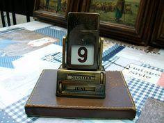 ewiger Kalender Büro Schreibtisch Drehzahlen Leder Metall