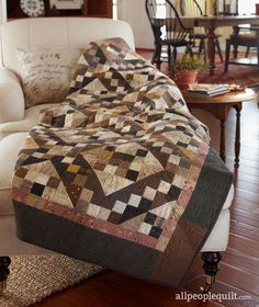 Chocolate Sparkle Quilt Designed by Becky Goldsmith and Linda Jenkins of Piece O' Cake Designs for All People Quilt Fall Quilts, Scrappy Quilts, Patchwork Quilting, Patch Quilt, Quilt Blocks, Quilting Projects, Quilting Designs, Quilting Ideas, All People Quilt