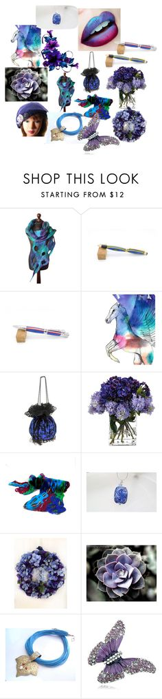 Blue-Purple Mixed by anna-recycle on Polyvore featuring John-Richard, Imagination Illustrated, modern and rustic