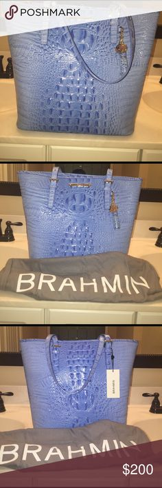 Brahmin Asher Tote Regatta Melbourne Leather baby blue Brahmin genuine leather  tote comes with registration card and Brahmin dust cover Brahmin Bags Totes