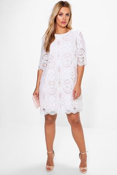 Womens Boohoo Plus Abbi All Over Lace Shift Dress - White Bodycon Fashion, Skirt Fashion, Plus Size Dresses, Plus Size Outfits, Lace Dress, White Dress, White Lace, Rehearsal Dinner Dresses, Grey Bridesmaid Dresses