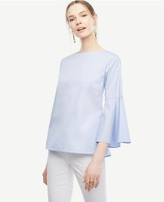 Primary Image of Fluted Sleeve Poplin Shirt