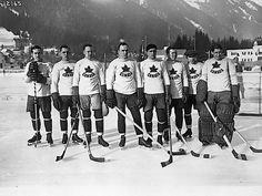 In 1924 - Here is Canada's winning team at the very first Winter Olympics, in Chamonix, France. They were undefeated in every game they played.