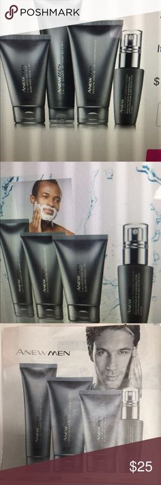 Anew for men's Set of products for that men face. The set have 4 full sizes , cleanser, after shave, moisture and post shave, all new in box Anew Other