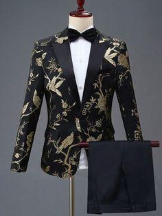 Floral Men's Stylish Formal Casual One Button Suit Blazer Coat Jacket Pants Slim Mens Casual Suits, Dress Suits For Men, Stylish Suit, Men Dress, Mens Suits, Blazer Floral, Gold Blazer, Floral Jacket, Blazer Outfits Men