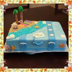 Retirement suitcase beach cake