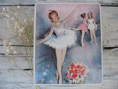 Mid Century ballet tin hinged tin young girl ballerina by luckduck