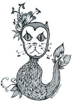 by Anya Katamari   #illustration #katamariart #handdraw #graphics #black #white #boy #girl #love #anyakatamari #mermaid #cat