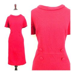 60s red mod dress / Extra large vintage / Button waist / Shift dress / Short sleeve / Lily Lynn / Valentines Day