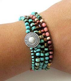 Crochet wrap bracelet / necklace, Azteca, turquoise, coral, bohemian jewelry, crochet jewelry, semi precious, fiber jewelry, ooak