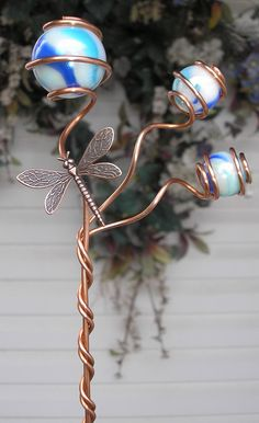 Dragonfly Garden Wand  Metal Stake  Glass Orb by DragonflyDreams1, $24.99