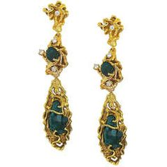 6bc8bb803 A Dramatic Pair of Emerald Diamond Earrings, circa 1960 offered by Kimberly  Klosterman Jewelry on InCollect