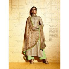 Beige Cotton Indian #Plazzo Kameez With Dupatta- $68.58