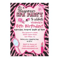Sparkle Sleepover Spa Birthday Party Invitations