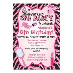 Playful pink slumber party birthday invitation #sleepover #spa #girls #card