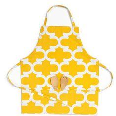 Linen Tablecloth Trellis Bib Apron Color: Mustard Yellow/White