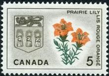 Canada Stamp -  (1966) Coat of Arms and Provincial flower - Saskatchewan:  Prairie Lily