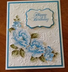 stamped and die cut flowers, pearls, and embossing folder card 50th Birthday Cards, Homemade Birthday Cards, Homemade Cards, Happy Birthday, Hanukkah Cards, Anna Griffin Cards, Beautiful Handmade Cards, Stamping Up Cards, Paper Cards