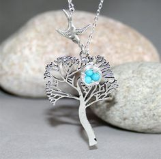 Tree and Bird Necklace with Bird Nest Sterling by smilesophie, $18.00
