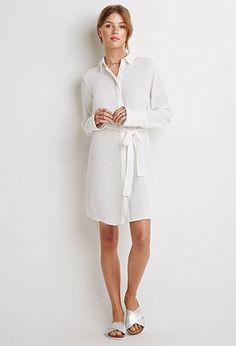 Belted Crepe Shirt Dress   Forever 21 - 2000131674