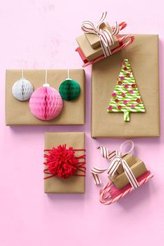 """These colorful creations add wow factor to humble brown paper packages. Honeycomb Ornaments: Cut 1 ½"""" and 2 ½"""" half circles from honeycomb paper (Honeycomb Popup Pad, $18 for 12 sheets; devra-party.com). Hot-glue one side of folded half circle to package; unfold and glue other side of sphere to box. Use a silver paint pen to draw ornament hangers. Paper Straw Christmas Tree: Use a pencil to draw a triangle on the top of package. Cut paper straws in graduated lengths to fit horizontally…"""