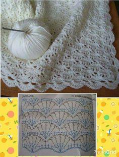 ♡ Crocheting Patterns, Baby Blanket Crochet, Crochet Stitches Patterns, Baby Knitting Patterns, Crochet Baby, Plaid Crochet, Crochet Shawl, Crochet Motif, Love Crochet
