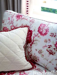 Quilted and over-stitched throw pillows.