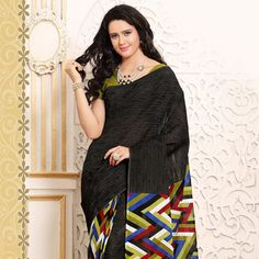 Black and Multicolor Cotton Saree with Blouse