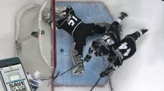 Kings have a nice collection of goalies. Martin Jones robs Wingels from the floor.  #nhl #goalie #lakings #sanjosesharks #martinjones