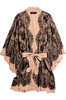 Jenny Packham's black French lace and nude silk-chiffon robe is the last word in luxurious lingerie. Wear this romantic style on your honeymoon with the matching chemise and thong.
