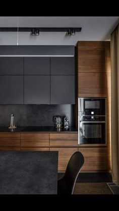 The 50 BEST BLACK KITCHENS - kitchen trends you need to see. It is no secret, in the design world, that dark kitchens are all the rage right now! Black kitchens have been popping up left and right and we are all for it, well I am anyways! Small Modern Kitchens, Grey Kitchens, Luxury Kitchens, Home Kitchens, Kitchen Grey, Kitchen Small, Modern Ovens, Kitchen Time, Charcoal Kitchen